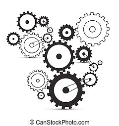 Vector cogs - gears on white background