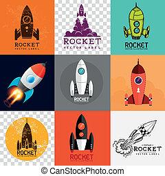vector, cohete, colección