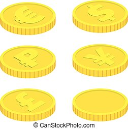Vector coins isolated on white background