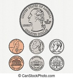 Vector quarter, dime, nickel, and penny. All on a seamless background.