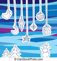 vector, colección, de, adornos de árbol de navidad