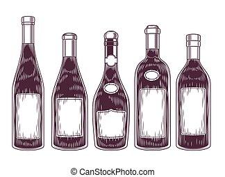 vector, colección, de, botellas de vino