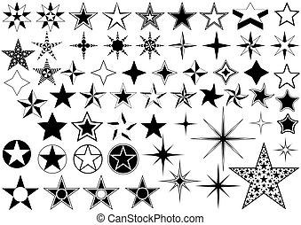 vector, colección, de, estrella