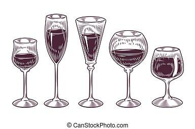 vector, colección, de, gafas vino