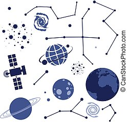 vector, colección, elementos, espacio