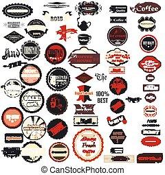 vector, colección, insignias, estilo, retro, etiquetas