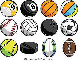 vector, colección, pelotas, deportes