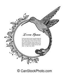 vector, Colibrí, estilo, Ilustración,  zentangle
