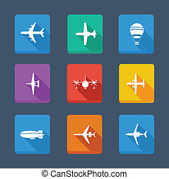 Vector collection airplane and gray. Set icons