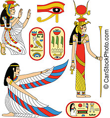 Egyptian goddess Isis - Vector collection - Egyptian goddess...