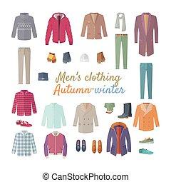 vector, collection., hombres, invierno, otoño, clothing., s