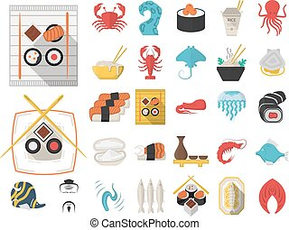 Vector collection of 29 flat icons for seafood