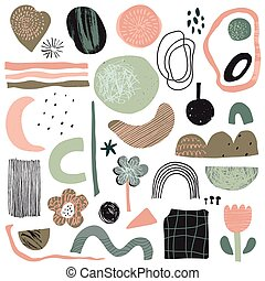 Vector collection of abstract shapes and geometric elements with hand drawn texture