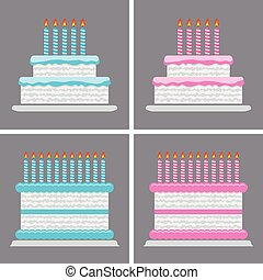 vector collection of birthday cake icons