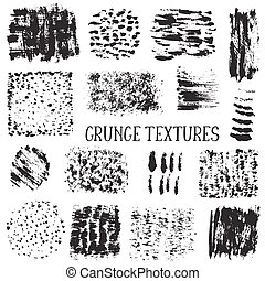 Vector collection of black ink abstract grunge textures.