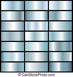 vector collection of blue silver metall gradients