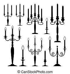 Vector collection of candles - Set of vector candles,...