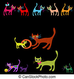 Vector collection of cartoon cats
