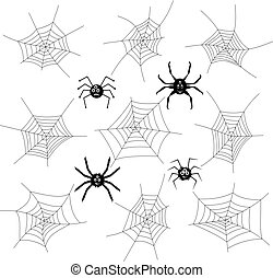 vector collection of cartoon spiders and webs