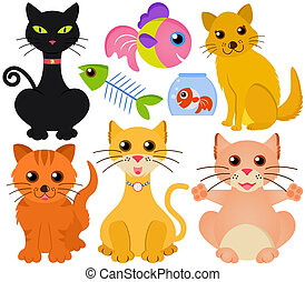 Vector collection of cat and fish
