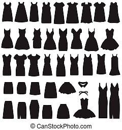 vector collection of clothing icons, isolated dress and skirt silhouette