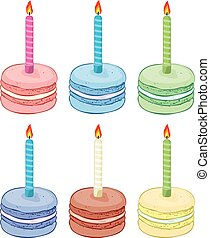 vector collection of colorful birthday macaroon with burning candles