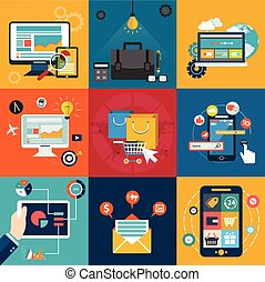Vector collection of colorful flat business and technology icons. Design elements for mobile and web applications.