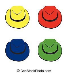 Vector collection of colorful hats for men