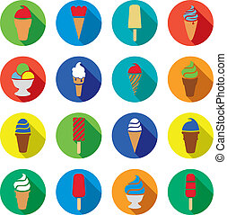 vector collection of colorful ice cream icons