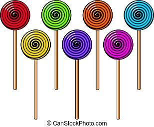 vector collection of colorful lollipop candies
