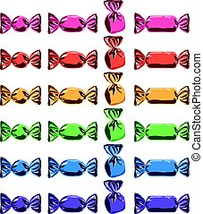 vector collection of colorful wrapped candies