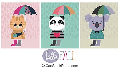 Vector collection of cute colorful animals with umbrellas.