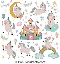 Vector collection of cute little unicorns, rainbow, stars fairy castle