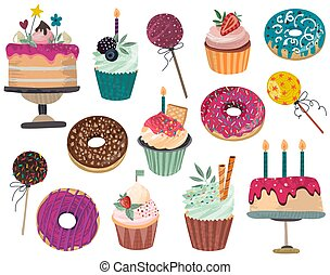 Vector collection of delicious dessert - donuts, cake, cupcakes, cake pops isolated on white background.