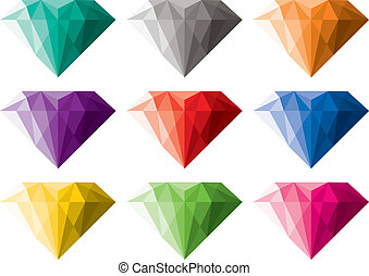 vector collection of  diamonds