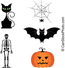 Vector collection of different cute black Halloween silhouettes.