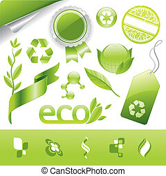 Vector collection of eco signs