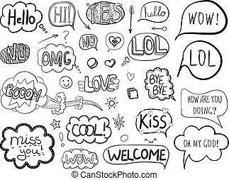 VECTOR collection of freehand drawings: talk bubbles, comic elements, black doodle frames isolated.