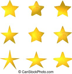 Vector Collection of Golden Stars, Shining Marks Set Isolated.