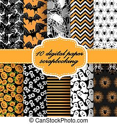 Vector Collection of Halloween Themed Seamless Backgrounds. Halloween Digital Paper For Scrapbook.(can be repeated and scaled in any size)