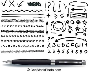 Vector Collection of Hand Drawn Elements with Realistic Black Pen, Isolated.