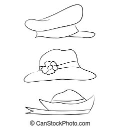 Vector collection of hats for men, women and children icons set
