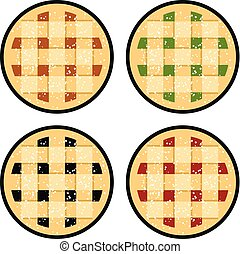 vector collection of homemade fruit and berry pies