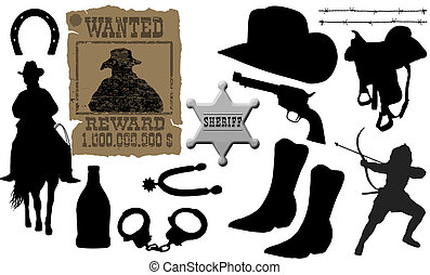 elements for cowboy life - vector collection of isolated ...