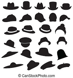 vector collection of isolated hats silhouette