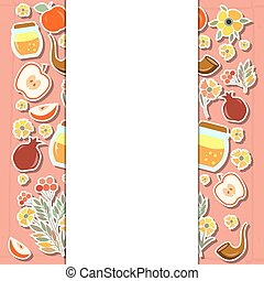 Vector collection of labels and elements for Rosh Hashanah (Jewish New Year)