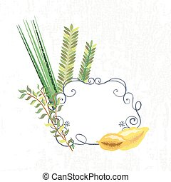 Vector collection of labels and elements for Sukkot (Jewish Traditional Holiday)
