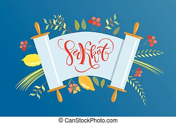 Vector collection of labels and elements for Sukkot (Jewish ...