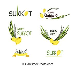Vector collection of labels for Sukkot, Jewish Holiday. Icons and badges