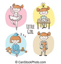 Vector collection of little girl in different situation. Children lifestyle set